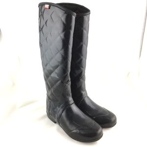Rain boot black glossy quilted rubber Regent Savoy
